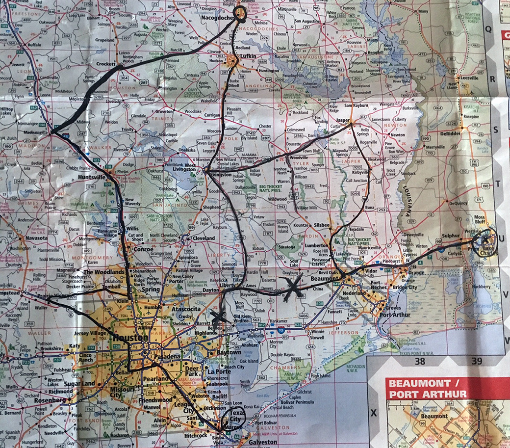 A marked-up map showing the round-about route our team was forced to take from Lake Charles, Louisiana, to Galveston, Texas.