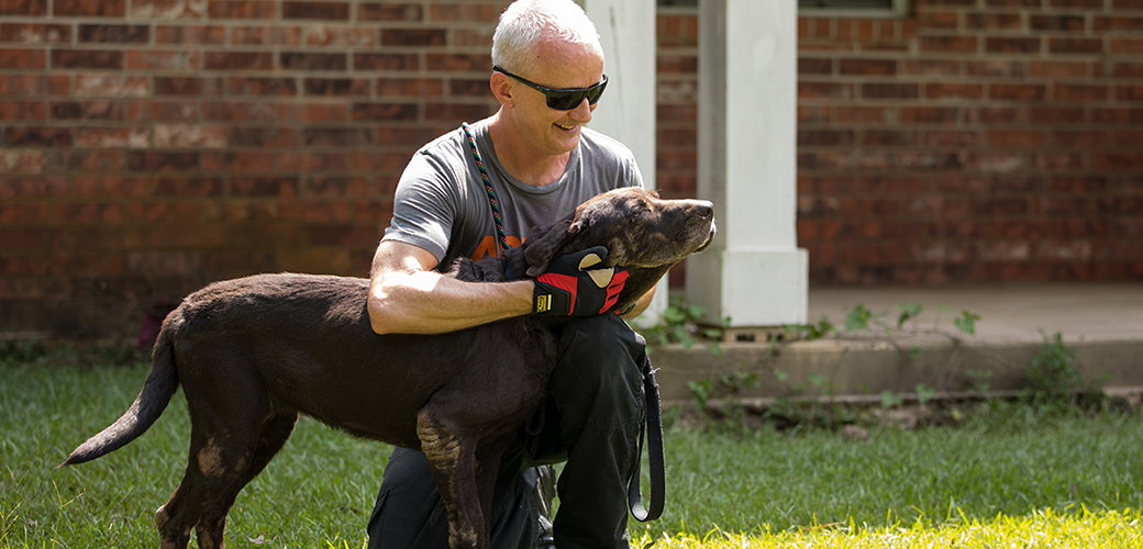aspca responder with rescued dog