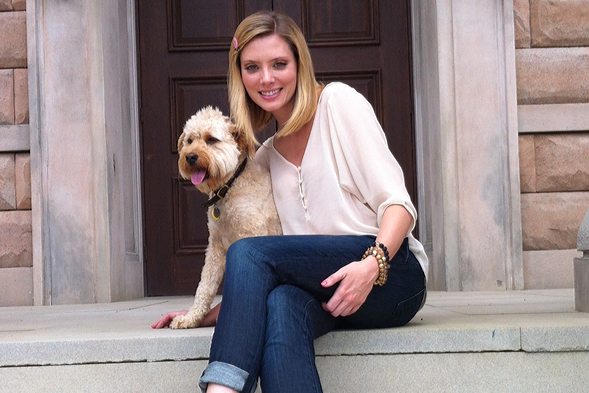 Actress April Bowlby with her dog Clementine