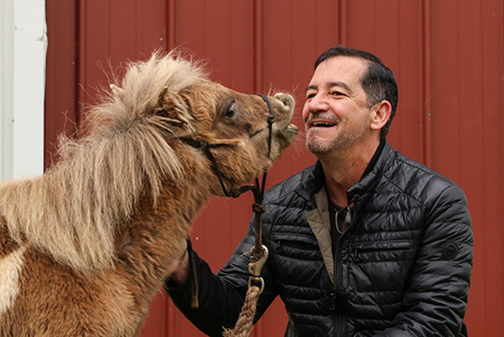 Horse giving a kiss