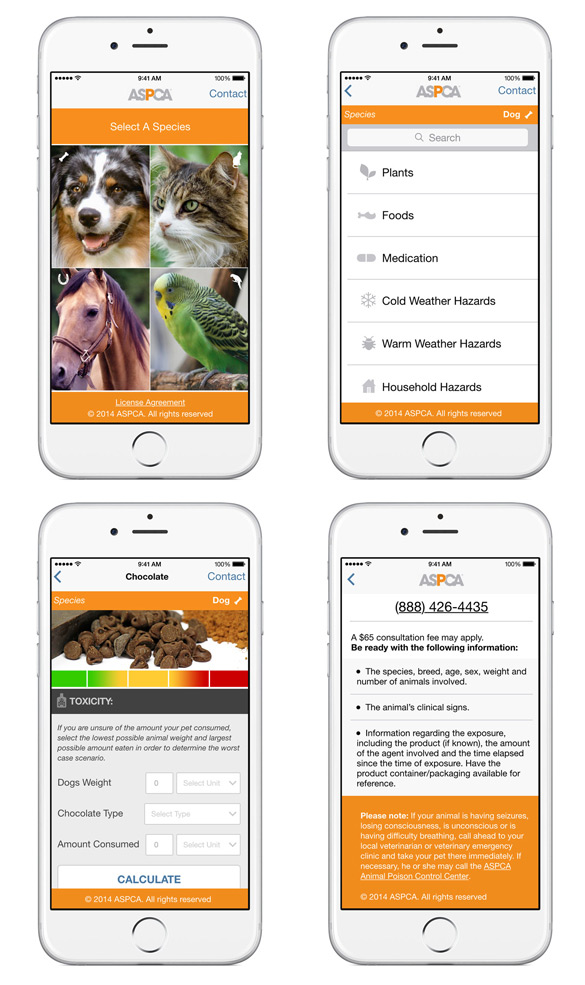 ASPCA APCC App Screenshots
