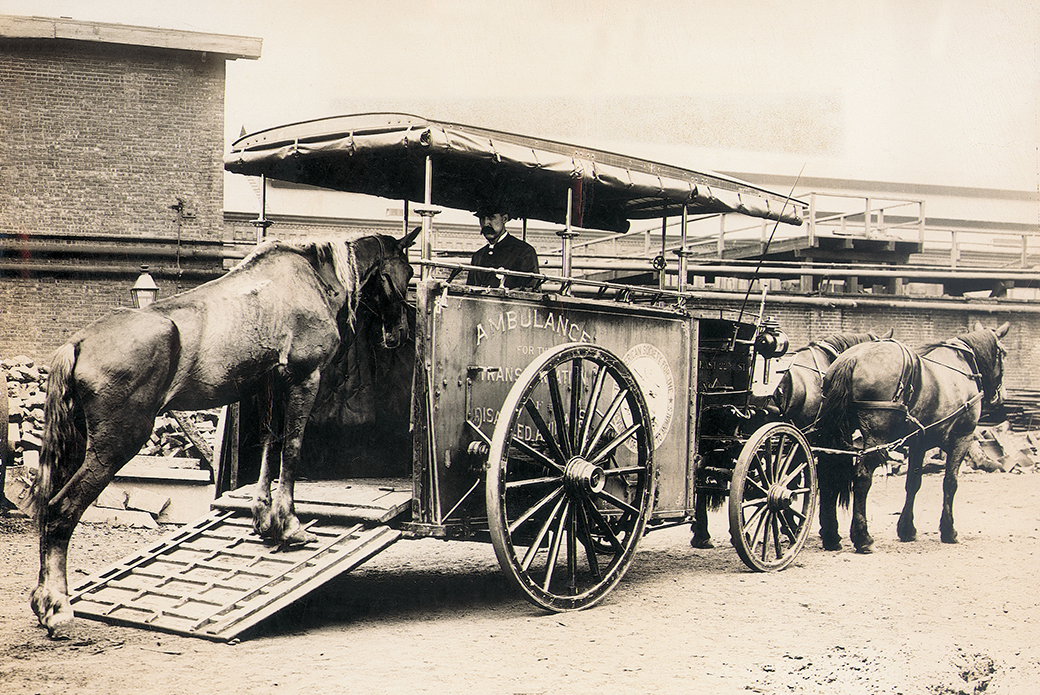 The ASPCA operates the first ambulance for injured horses.