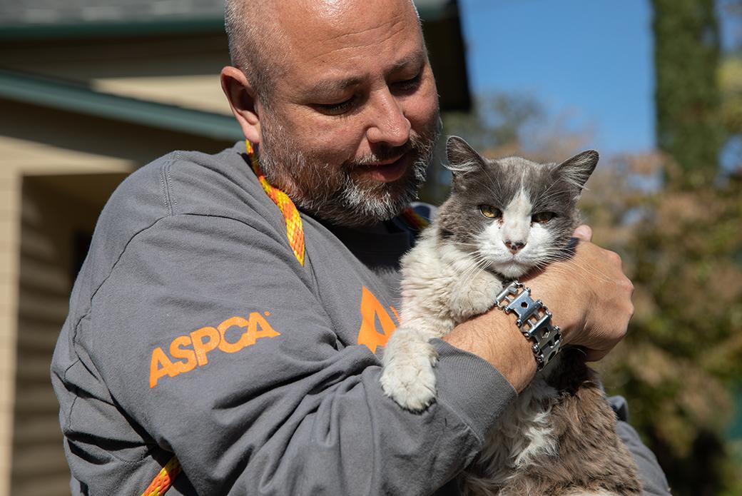 a responder holding a cat