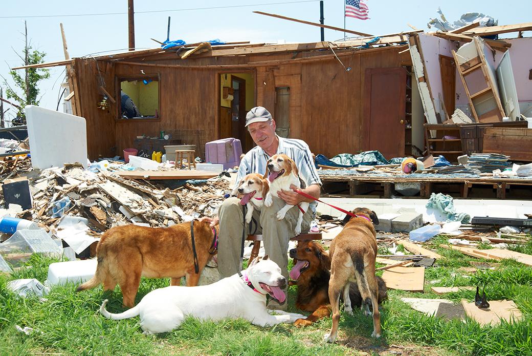 Joplin resident Murray Fields in the wake of the tornado, 2011.