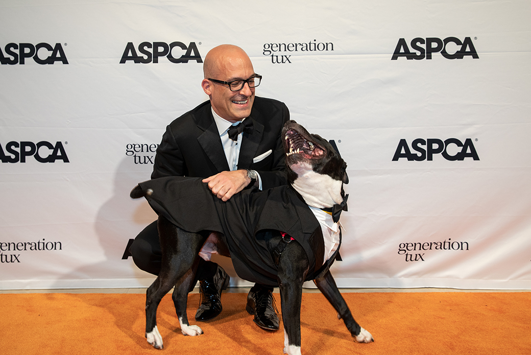 ASPCA President and CEO Matt Bershadker with a happy dog