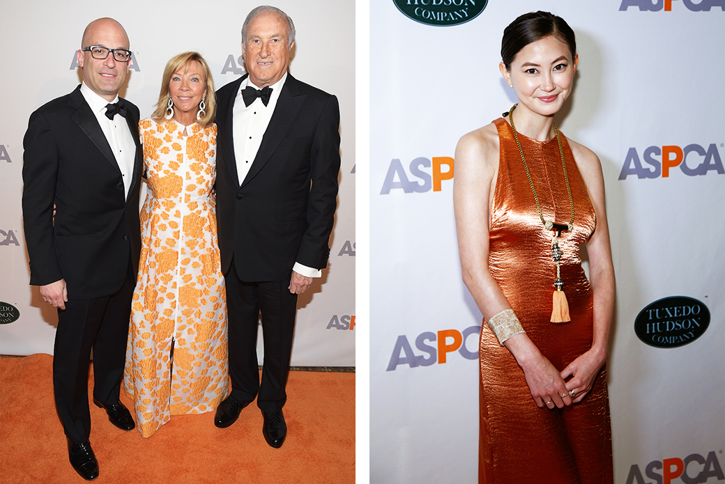"(Left) ASPCA President and CEO Matt Bershadker with honoree Linda Lloyd Lambert and her husband Ben Lambert. (Right) Actress Kimiko Glenn from ""Orange is the New Black."""