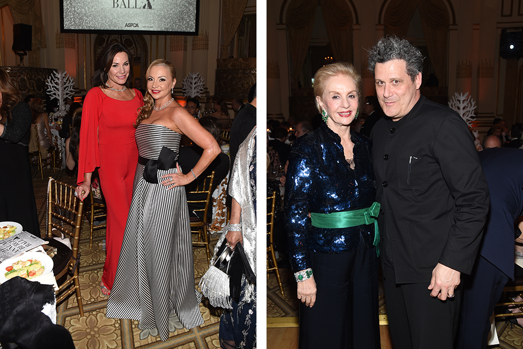 Left: Television personality Luann De Lesseps with Laura Zambelli Barket. Right: Carolina Herrera and Isaac Mizrahi.