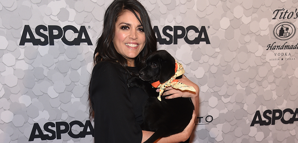 cebfe55d7e7db5 ASPCA Voices for Animals Award honoree Cecily Strong on the orange carpet  with an adoptable puppy at the 2018 Bergh Ball.