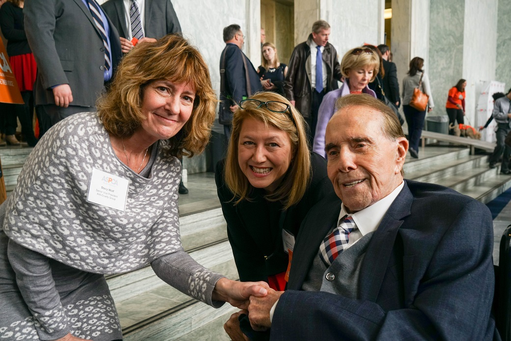 Former Senator Bob Dole with the ASPCA's Nancy Perry and Stacy Wolf