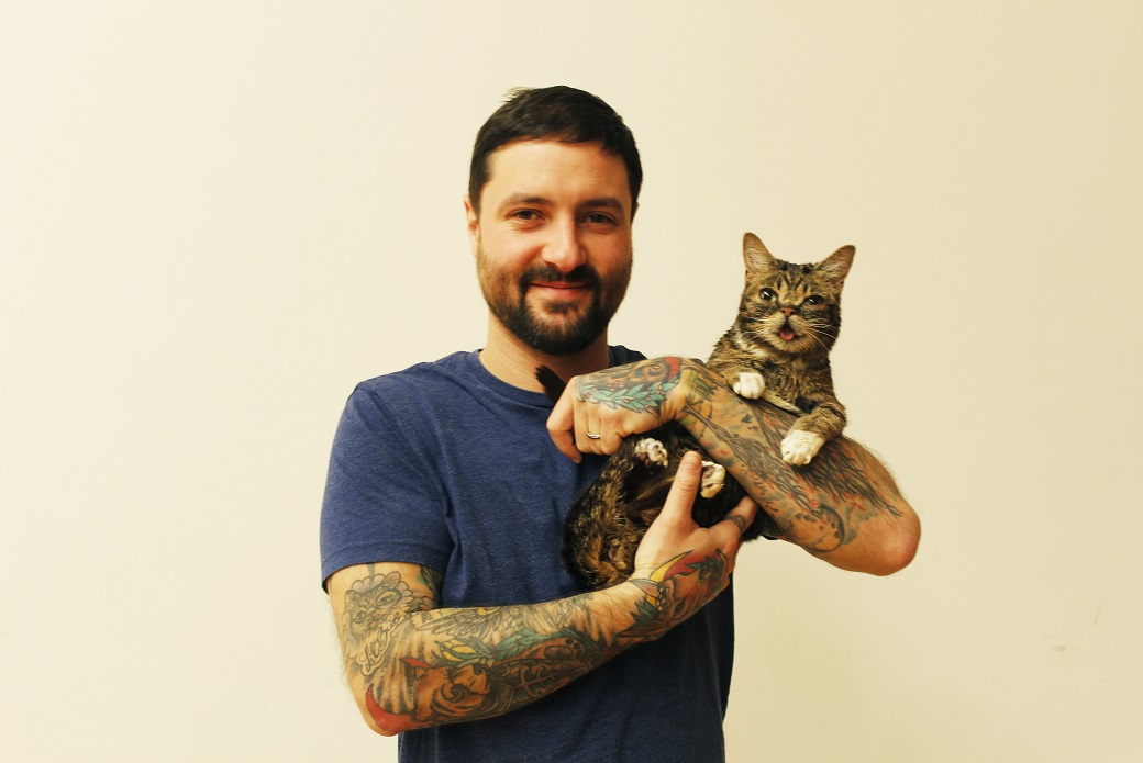 Lil BUB and her pet parent, Mike Bridavsky.