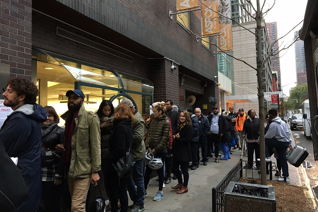 people lined up outside ASPCA's adoption center