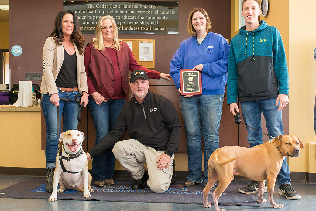 Kristina Bergman, her dog Pippin, Karla Beckerman, Bruce Earnest, Kristy Gardner, Steven Stoner with his dog, Trooper