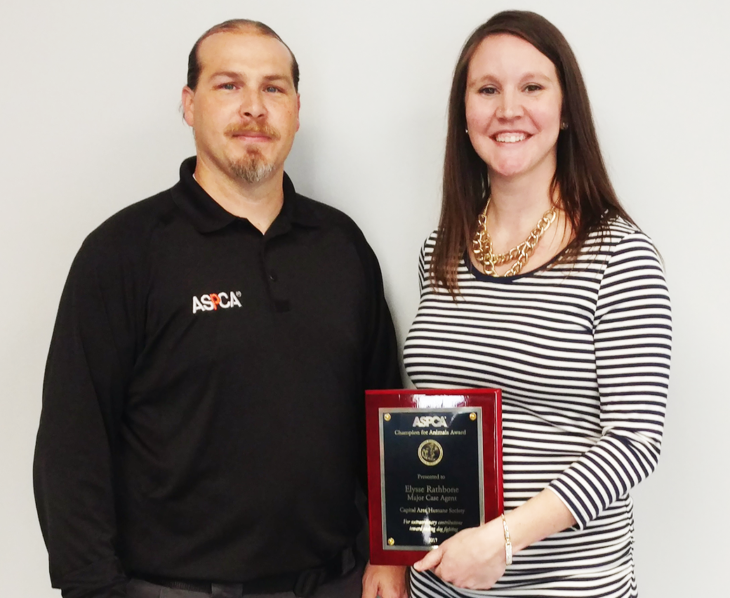 ASPCA's Vice President of Field Investigations and Response Tim Rickey with Major Case Agent Elysse Rathbone.