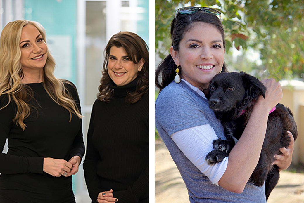 Left: Laura Zambelli Barket and Mindy Fortin. Right: Cecily Strong.