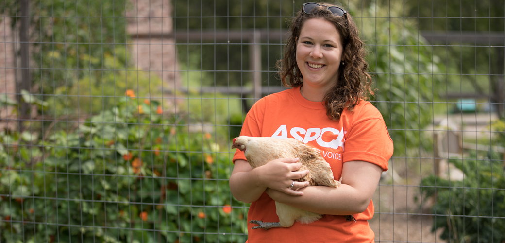 ASPCA volunteer with a chicken
