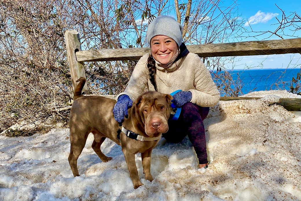 Stephanie and Rocket in the snow