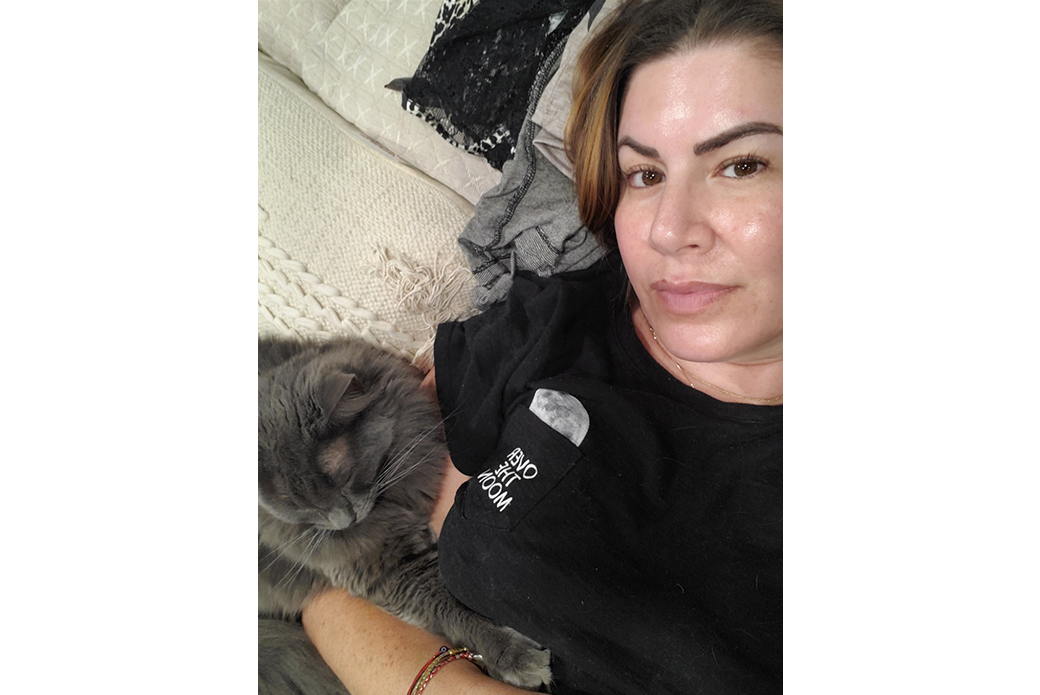 Andrea and one of her cats