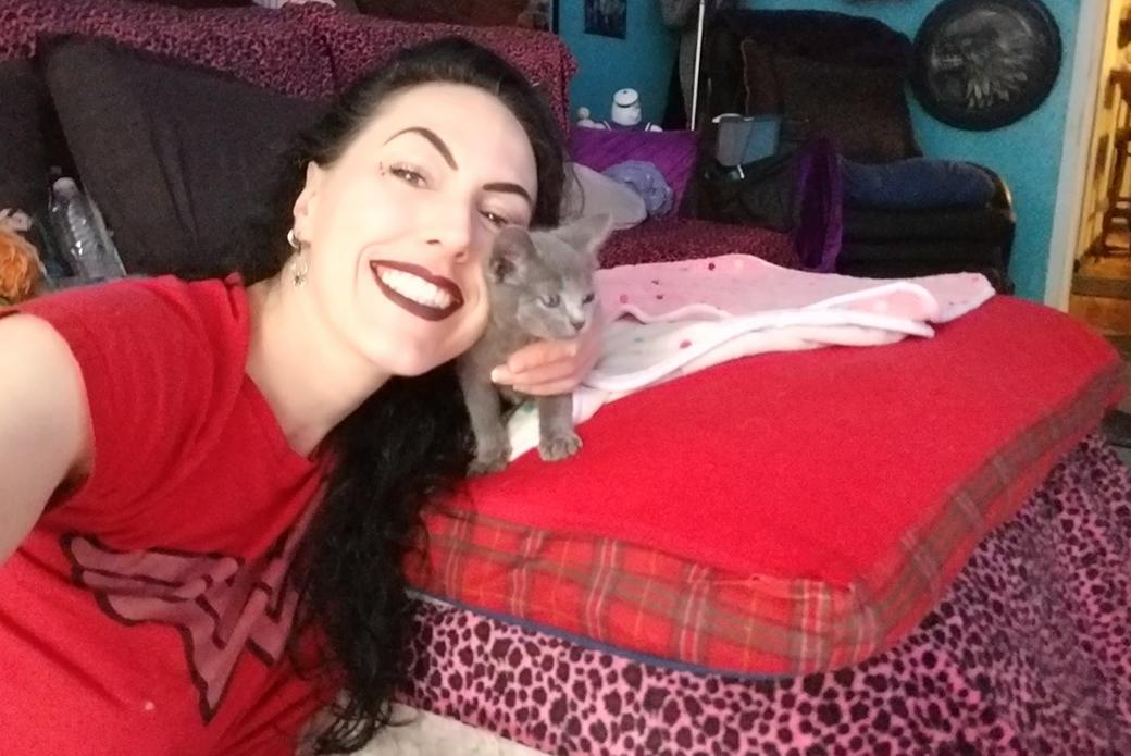 DonnaMarie and her foster kitten, Aurora
