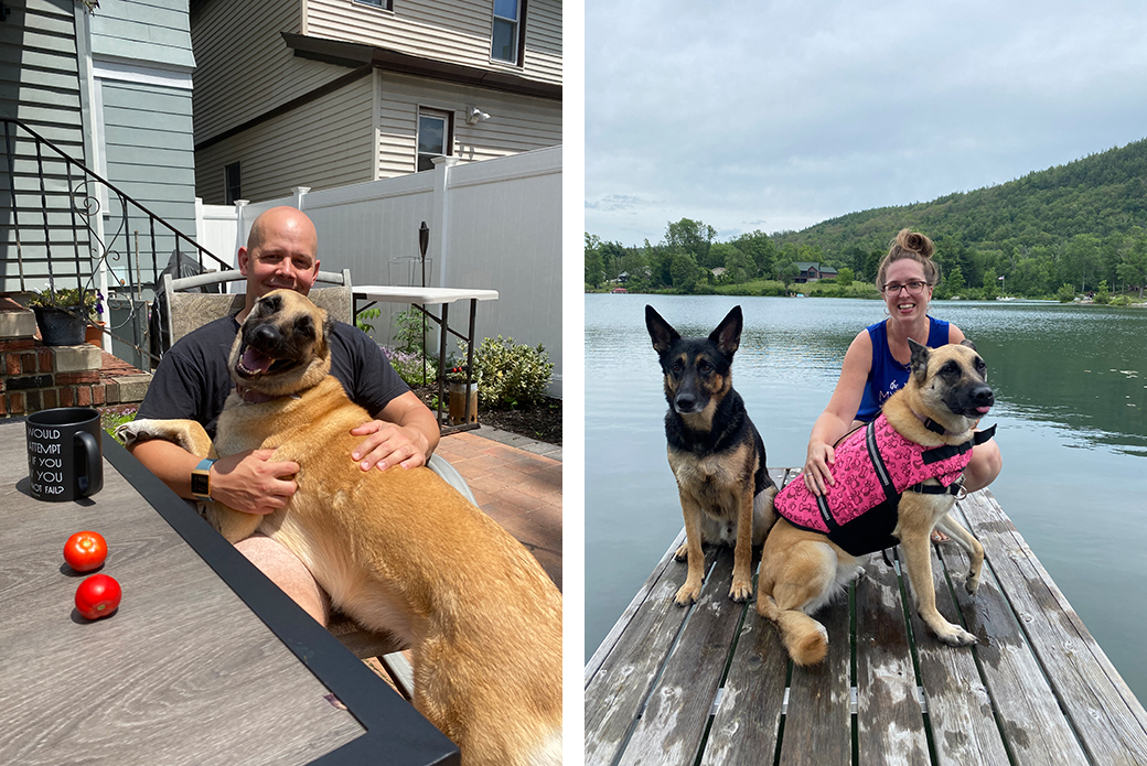 Betty with Sergeant Shaw and with Emily and Jack at the lake