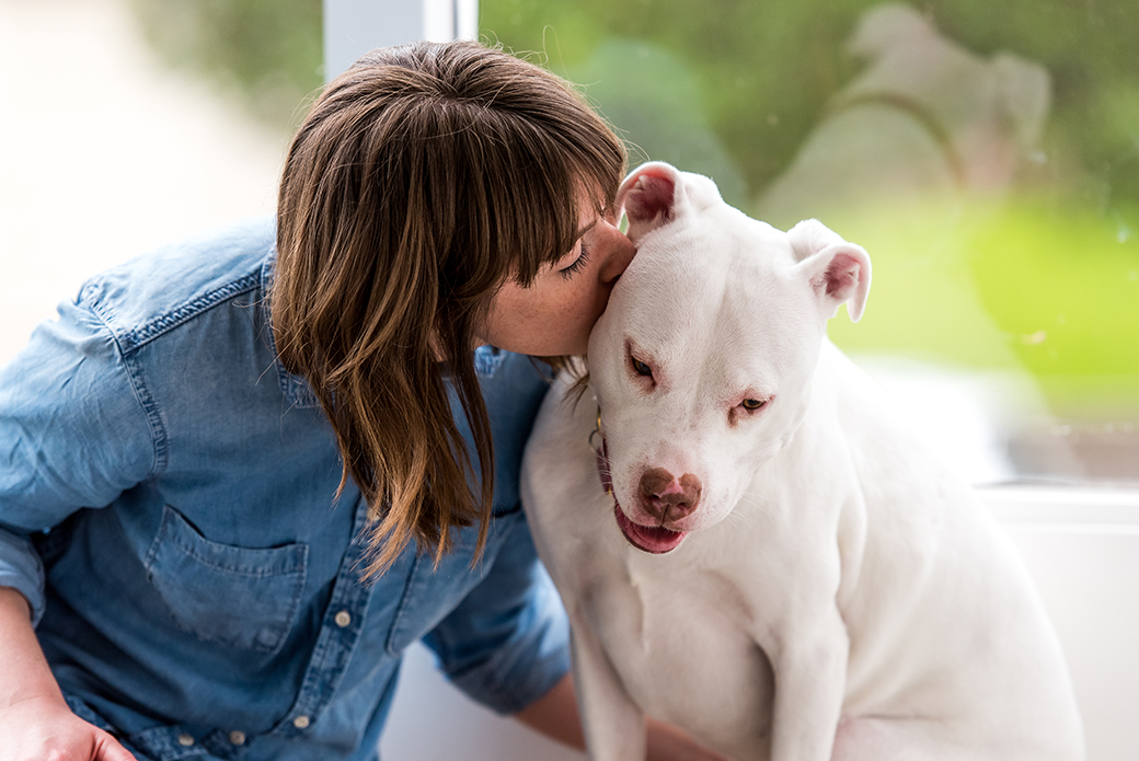 a woman kissing a pitbull on the side of the head