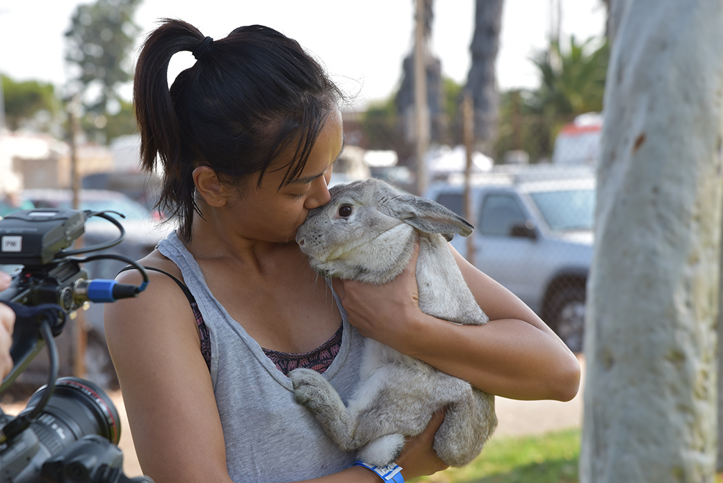 a woman with a bunny