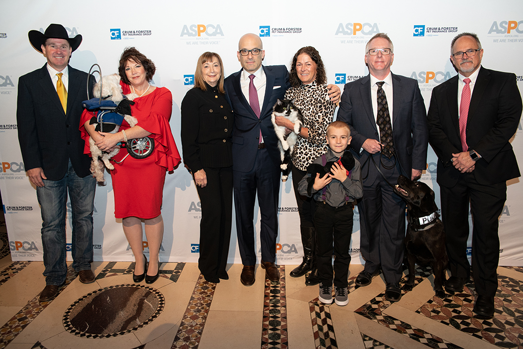ASPCA President and CEO, Matt Bershadker, poses with the 2018 HAL award winners.
