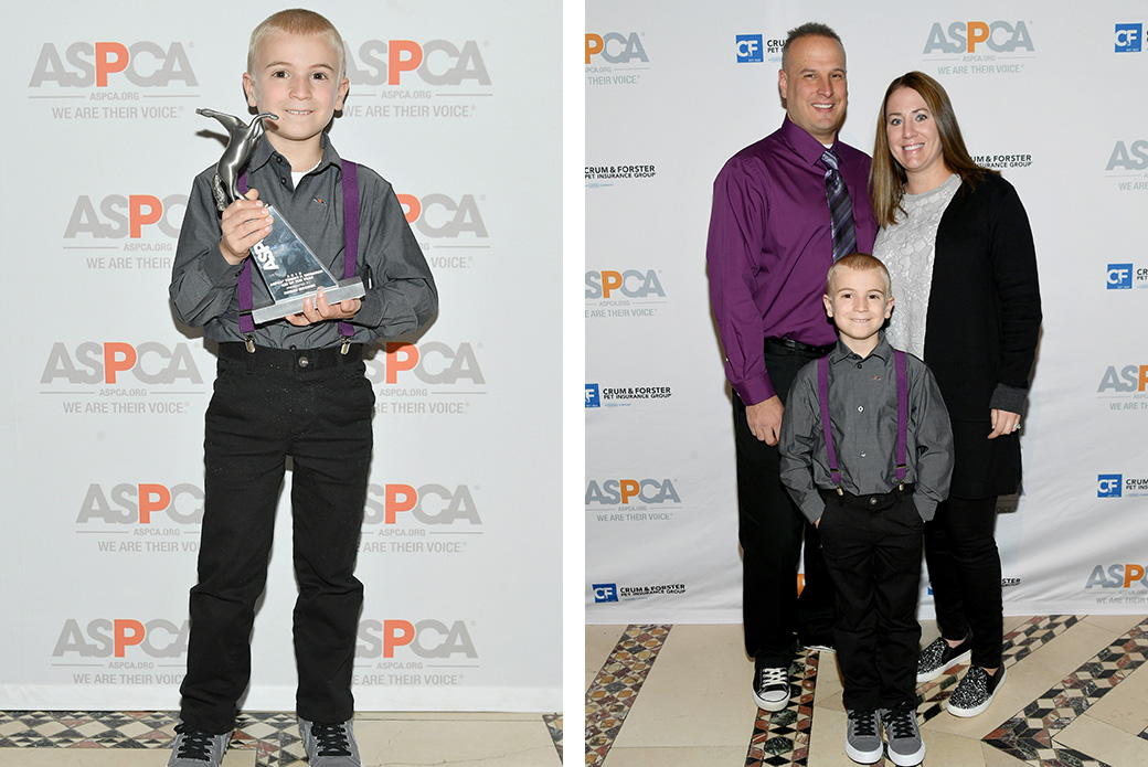 Roman with his award and his family