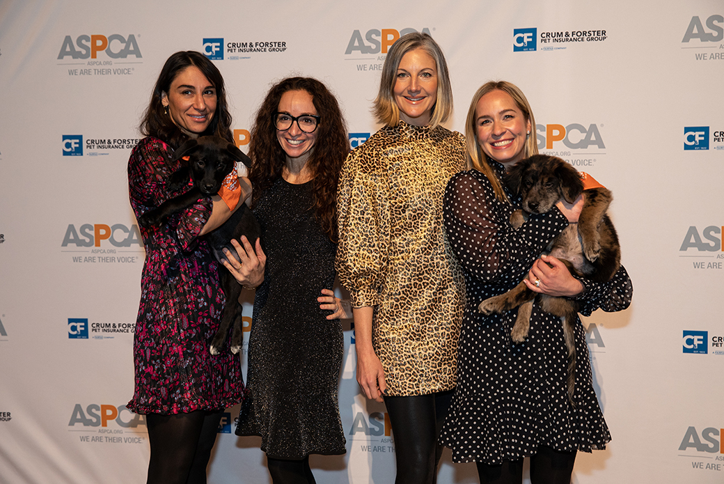 four women and two puppies