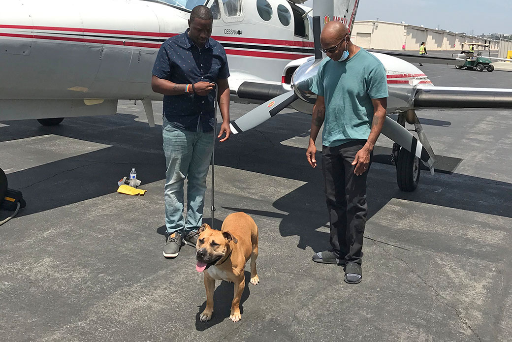 Maxwell and Lloyd meeting Kodak after his flight