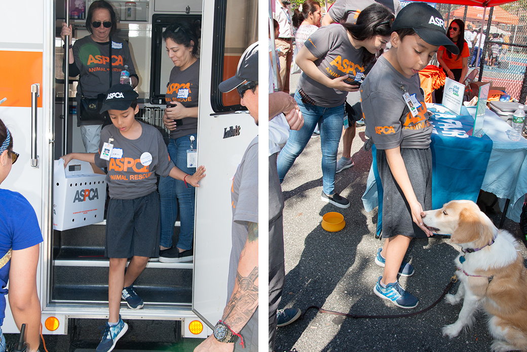 Left: Checking out our mobile adoption van. Right: Making new friends and learning some tips on dog training.
