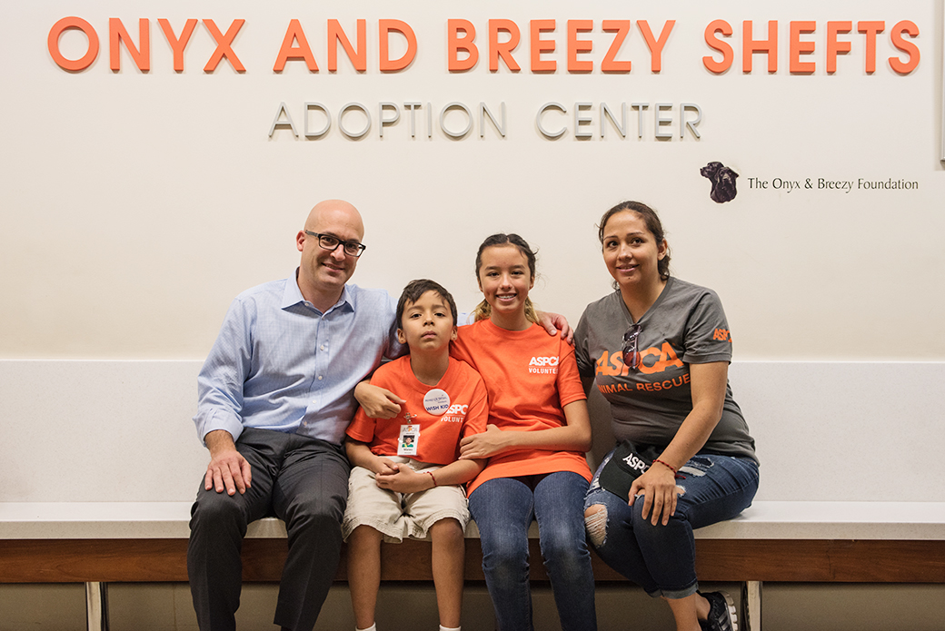 ASPCA President and CEO Matt Bershadker with Mateo, Valentina and Jimena.