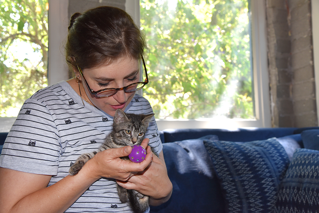 Mayim Bialik playing with a kitten
