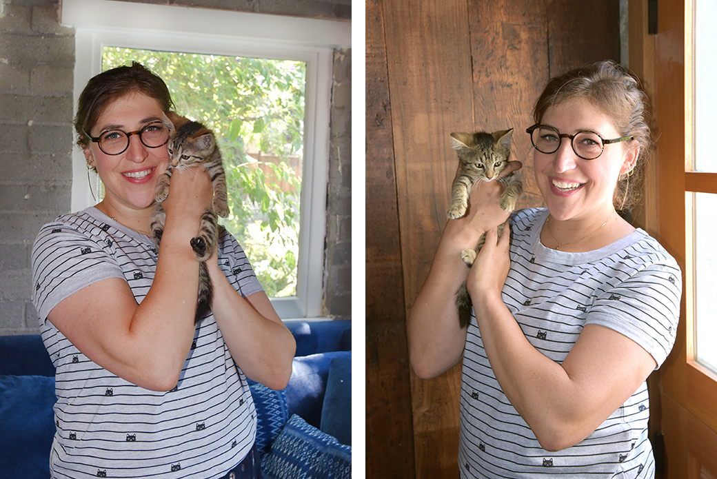 Mayim Bialik with kittens
