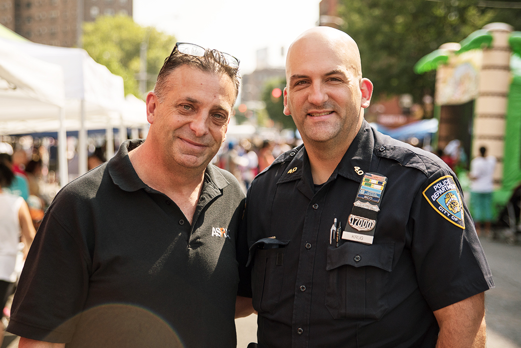 The ASPCA's Paul Mayr, Law Enforcement Liaison, with Police Officer Clement Krug