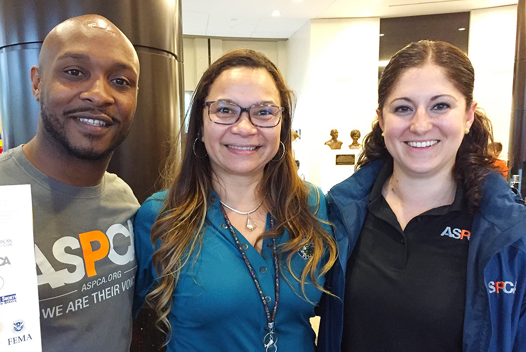 The ASPCA's Marlan Roberts and Susan Cardoso with Dulce Pantaleon