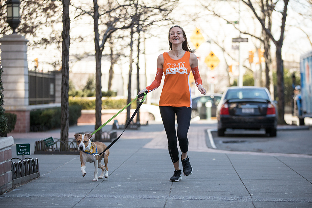 marathon runner walking their dog