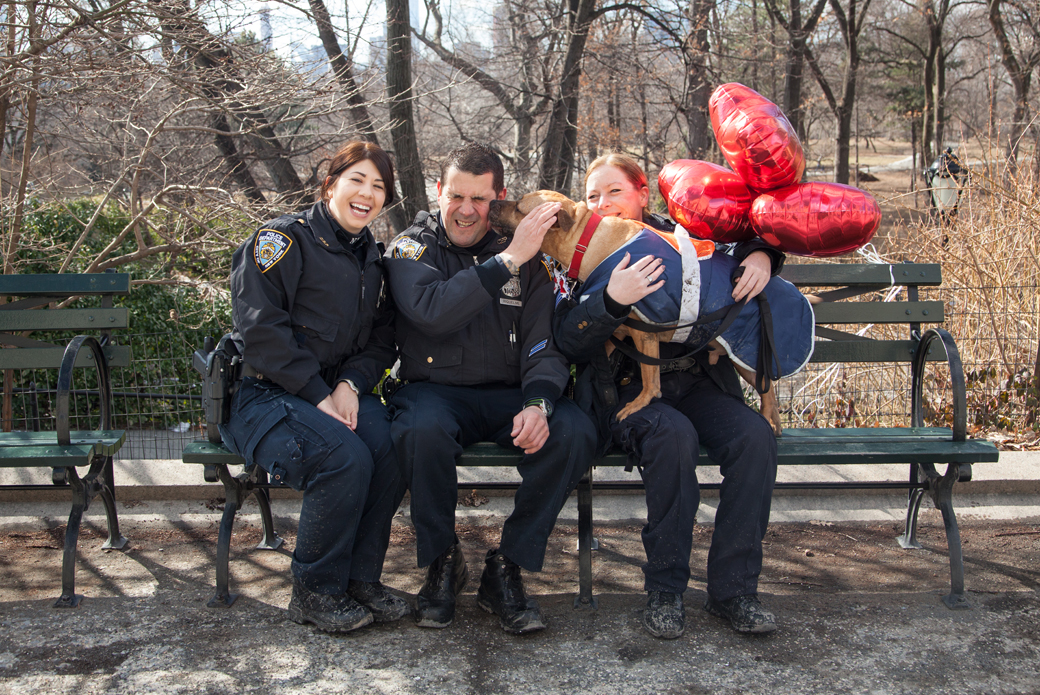 Orson with Sergeant Maria Sexton, Officer Sara Moran and Officer John Riquelme on a bench