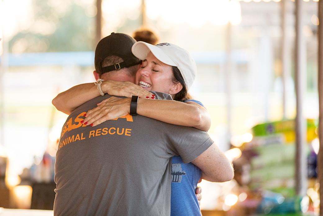Little Bit's pet parent, Kelly, thanks responders