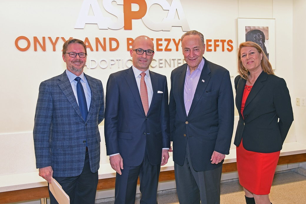 Richard Patch, VP of Federal Affairs, ASPCA; Matt Bershadker, President and CEO, ASPCA; Senator Chuck Schumer; Nancy Perry, Senior VP, Government Relations, ASPCA.