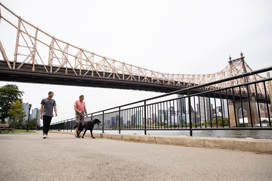 two men walking a dog near a bridge