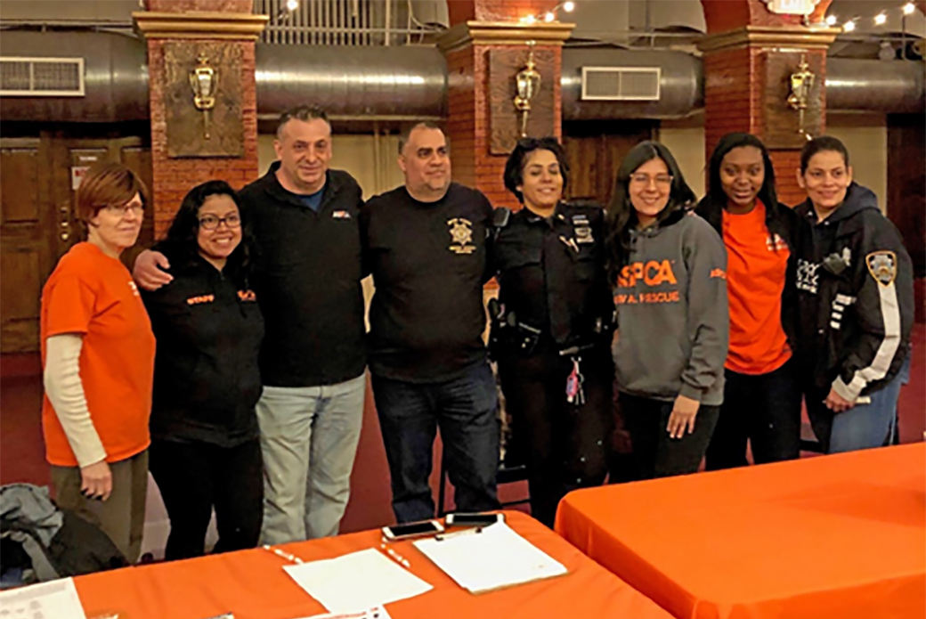 ASPCA Staff and Volunteers with NYPD Officials