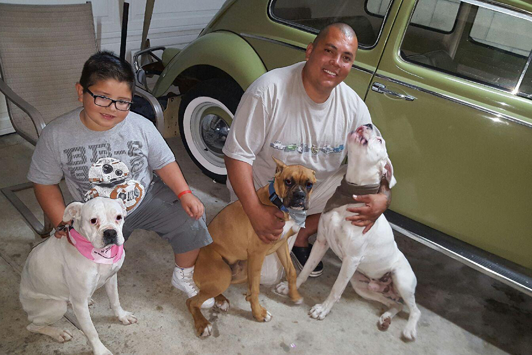 Chubster and Lucky with their loving family.