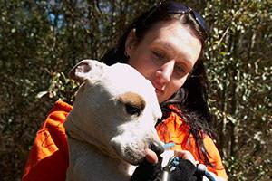 ASPCA responder holding pit bull