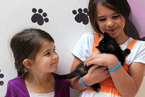 Little girls holding a black kitten