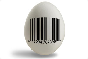 Egg with barcode