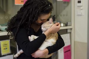Woman holding orange cat
