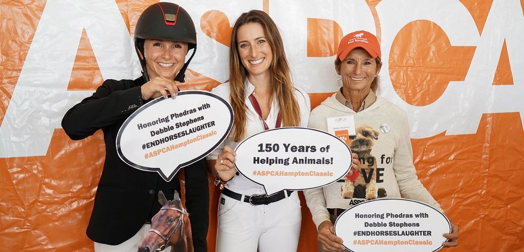 ASPCA Equine Welfare Ambassadors Georgina Bloomberg and Jessica Springsteen, left, pose with top show jumper Debbie Stephens