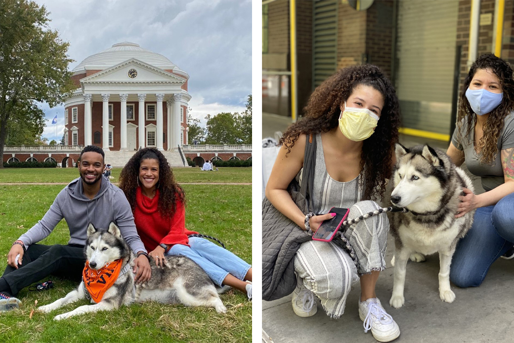 Zoey with Mekenzye and Michael at UVA