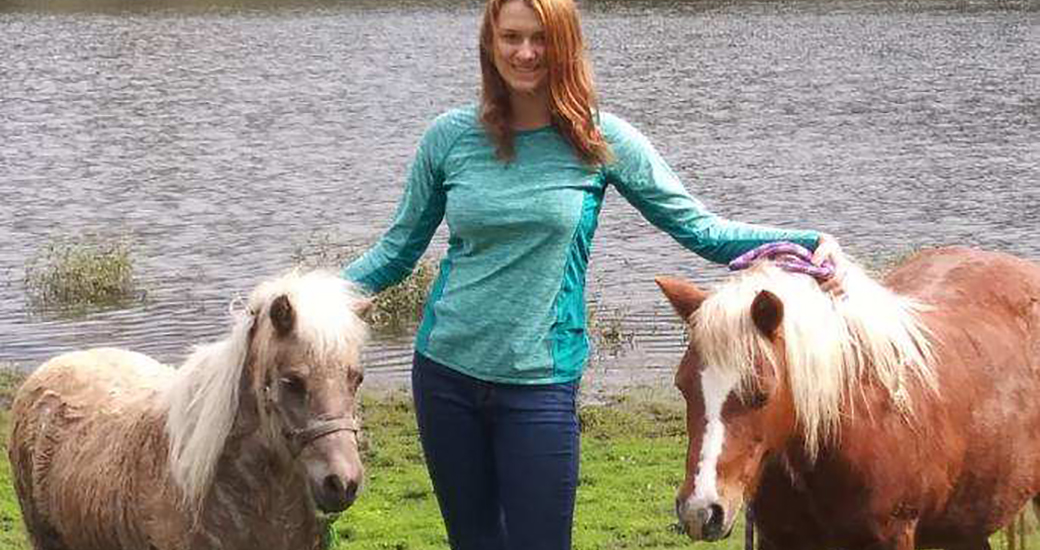 Jena and the two rescued mini horses