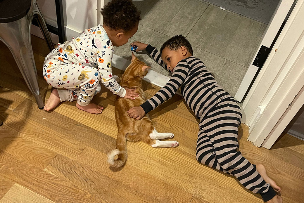 Frankie and Caiden with Shiloh